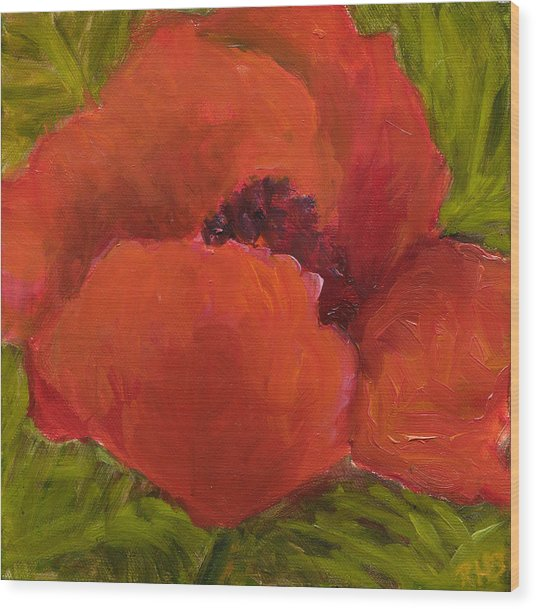 Poppies Diptych A Wood Print by Rita Bentley