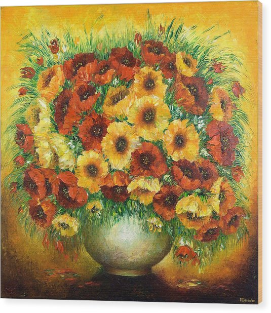 Poppies. Wood Print by Evgenia Davidov