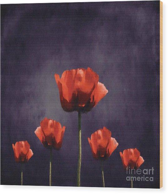 Poppies Fun 01b Wood Print
