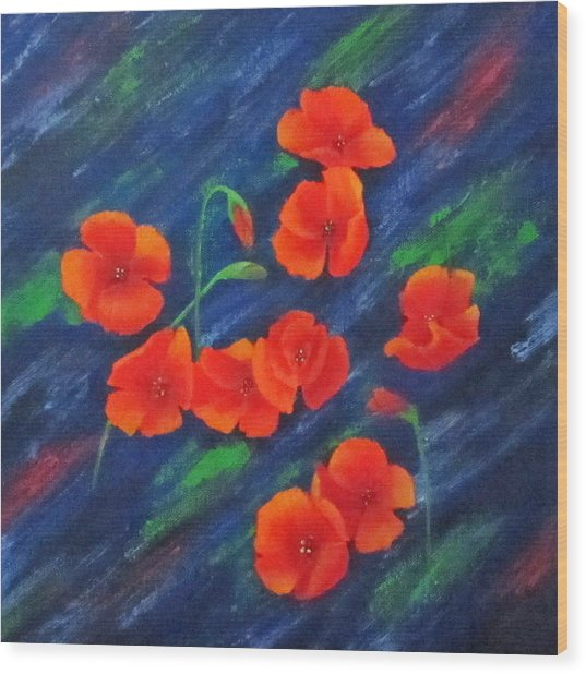 Poppies In Abstract Wood Print