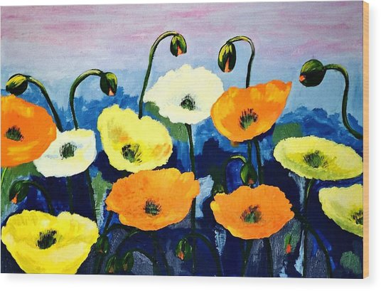 Poppies In Colour Wood Print