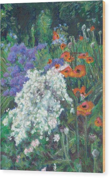 Poppies In June Garden Wood Print by Judy Adamson