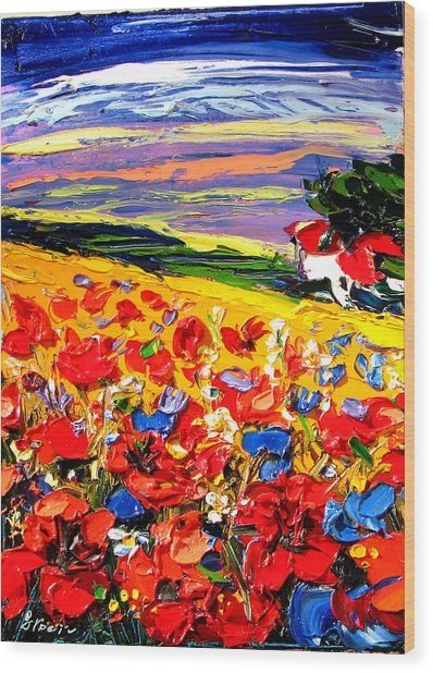 Poppies In The Spring Time.  Wood Print by Maya Green