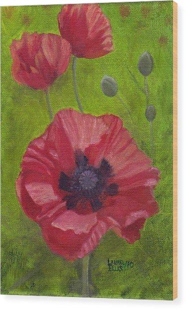 Poppies Wood Print by Laurel Ellis