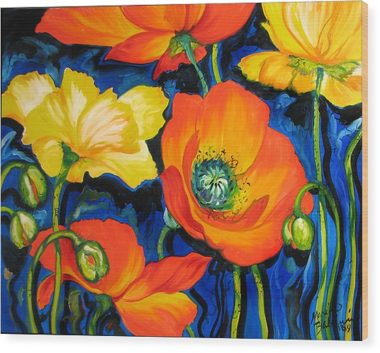 Poppies Wood Print by Marcia Baldwin