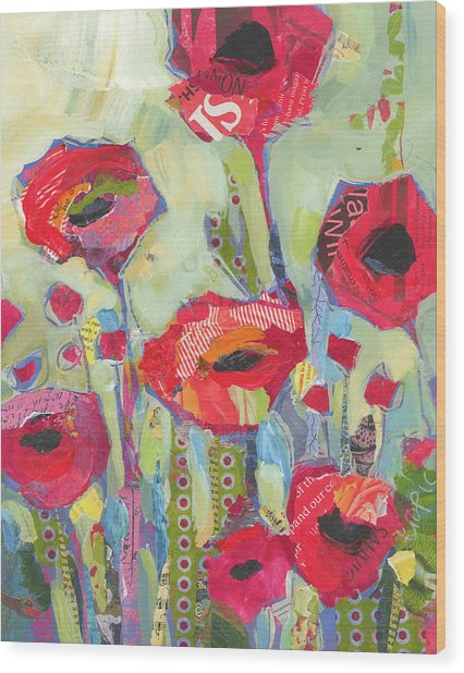 Poppies No 5 Wood Print