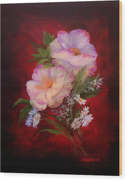 Poppies On Red Wood Print