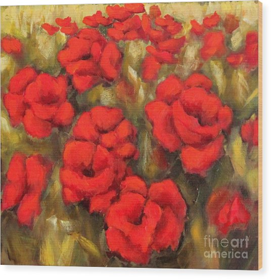 Poppies Passion Fragment Wood Print