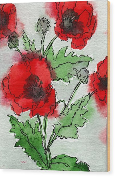 Poppies Popped Wood Print
