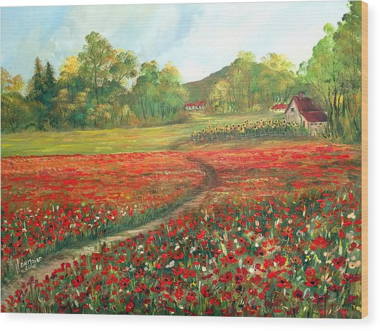 Poppies Time Wood Print