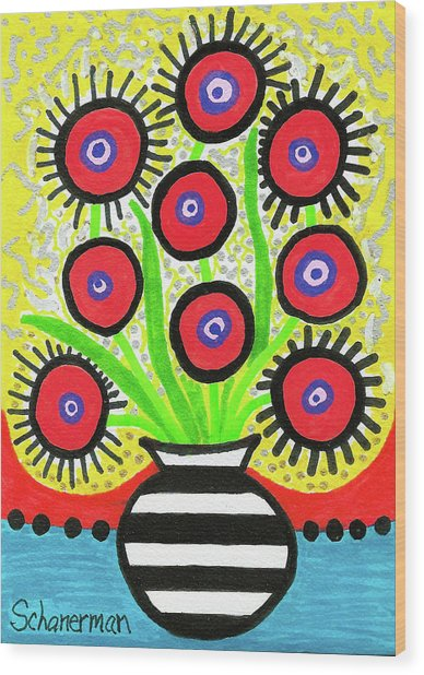 Poppin' Red Poppies Wood Print