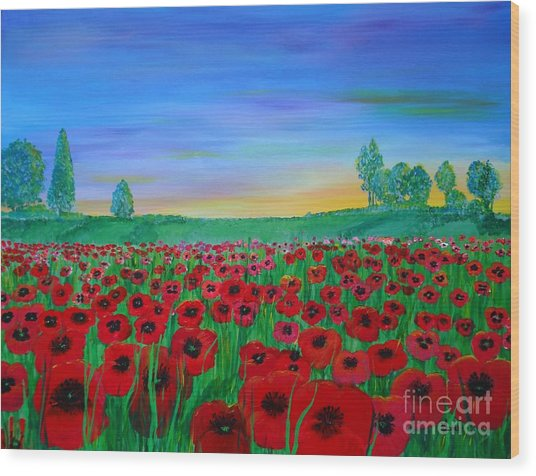 Poppy Field At Sunset Wood Print