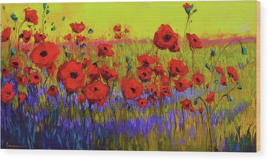 Poppy Flower Field Oil Painting With Palette Knife Wood Print