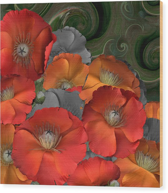 Poppy Wood Print by Stan Bowman