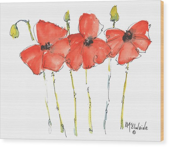Red Poppy Play Wood Print