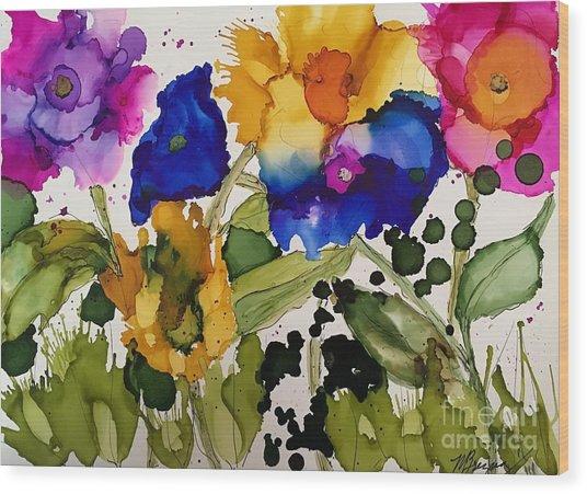 Poppy Party Wood Print