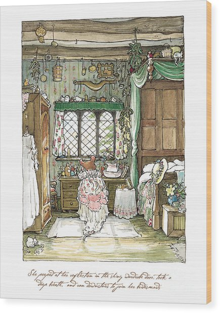 Poppy Puts On Her Wedding Dress Wood Print