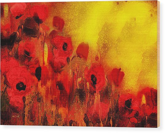 Wood Print featuring the painting Poppy Reverie by Valerie Anne Kelly