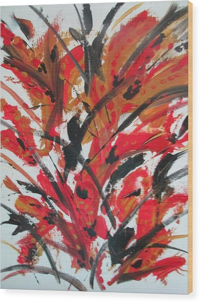 Poppy Storm Wood Print