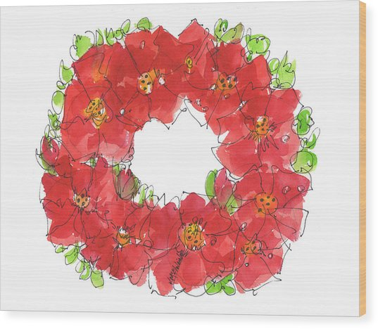 Poppy Wreath Wood Print
