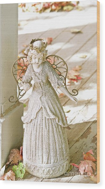 Porch Angel In The Fall Wood Print
