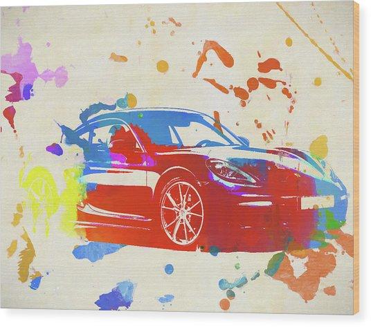 Porsche 718 Cayman Wood Print