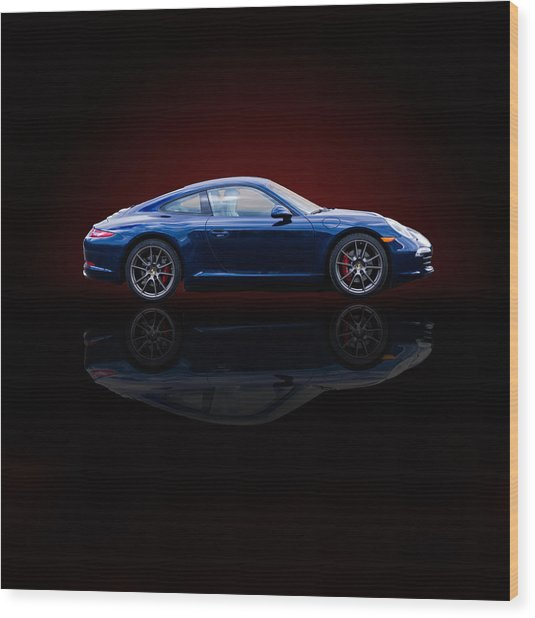 Porsche 911 Carrera - Blue Wood Print