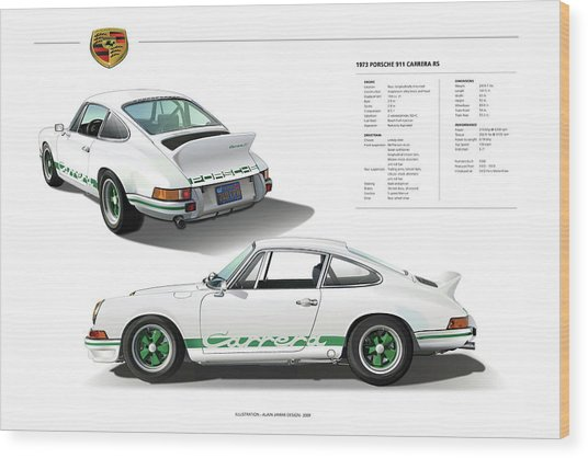 Porsche 911 Carrera Rs Illustration Wood Print
