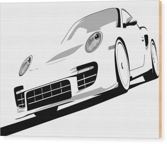 Porsche 911 Gt2 White Wood Print