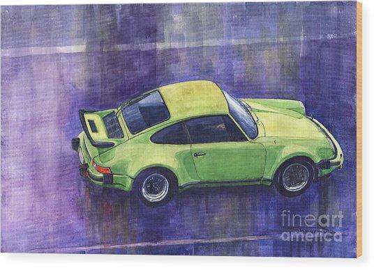 Porsche 911 Turbo Green Wood Print