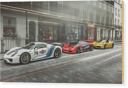 Porsche 918 Mclaren F1 Gtr And Ferrari 458 Specialea Wood Print