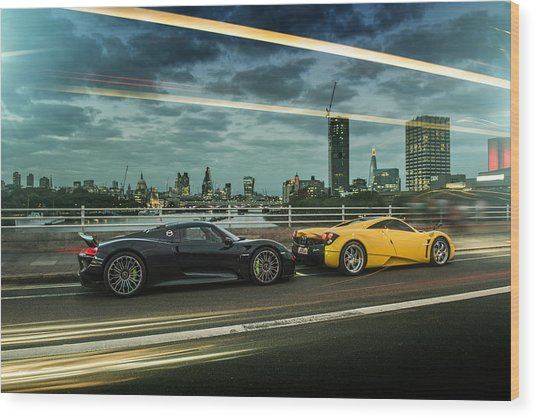 Porsche 918 Spyder And Pagani Huayra Wood Print