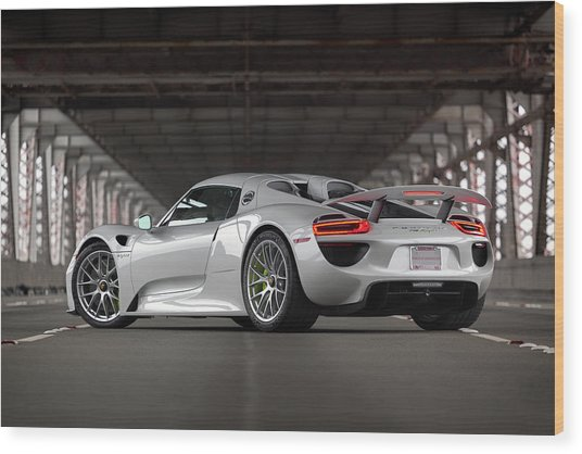 Wood Print featuring the photograph #porsche #918spyder #print by ItzKirb Photography