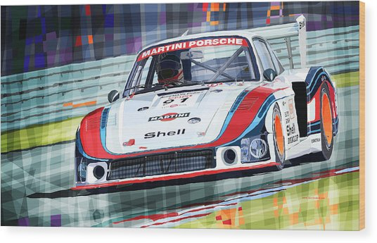 Porsche 935 Coupe Moby Dick Martini Racing Team Wood Print