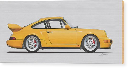 Porsche 964 Carrera Rs Illustration In Yellow. Wood Print