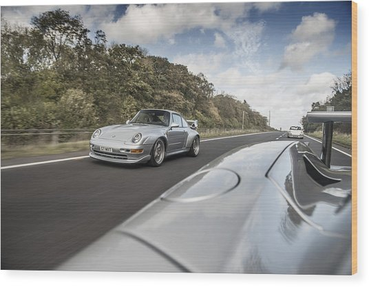Porsche 993 Gt2 With Carrera Gt And 1973 2.7 Rs Wood Print