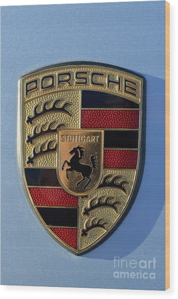 Porsche Badge Wood Print