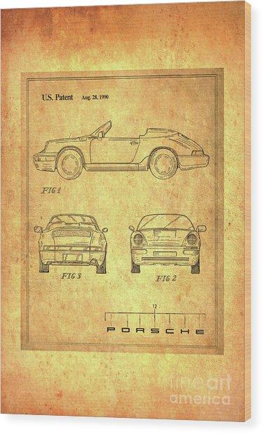Porsche Blueprint Wood Print