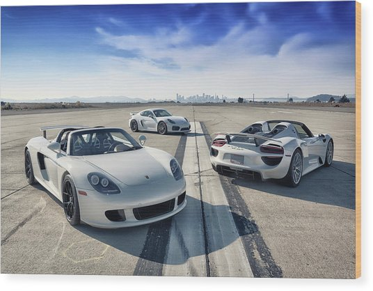 Wood Print featuring the photograph #porsche #carreragt,  #918spyder,  #cayman #gt4 by ItzKirb Photography