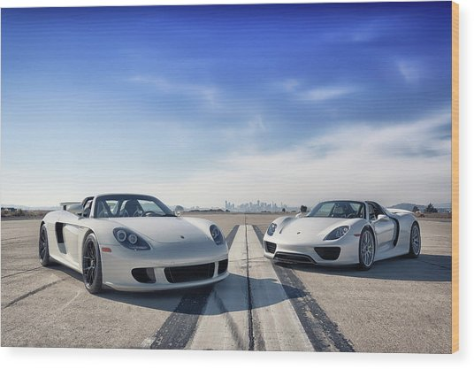 Wood Print featuring the photograph #porsche #carreragt And #918spyder by ItzKirb Photography
