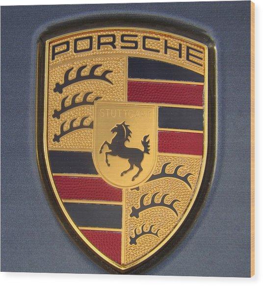 Porsche Emblem Wood Print
