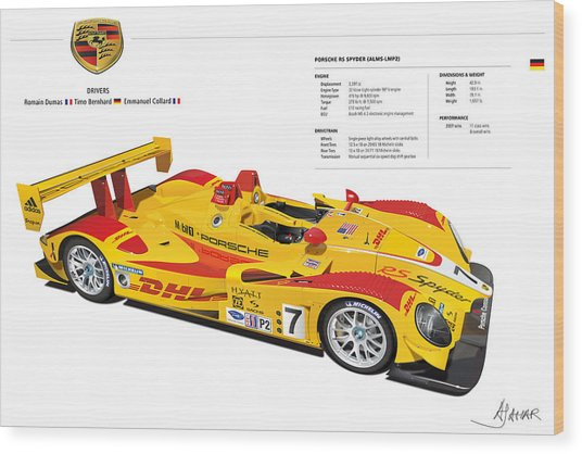 Porsche Poster Rs Spyder Wood Print
