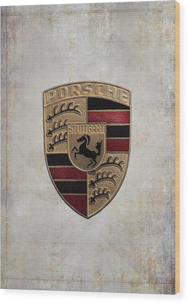 Porsche Shield Wood Print