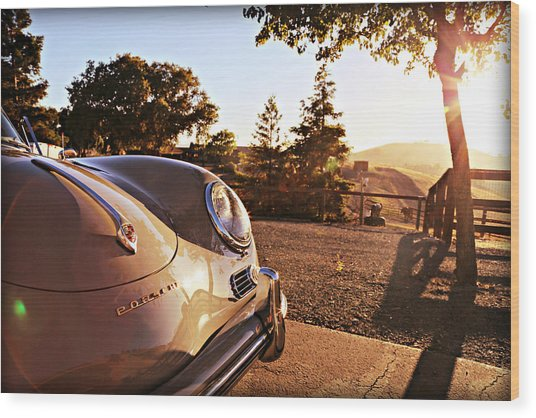 Porsche Sundown Wood Print