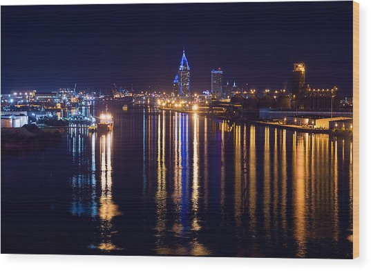 Port City In Blue Wood Print