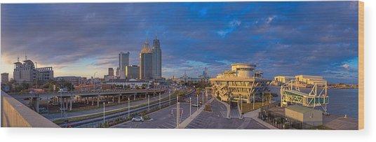 Port City Skyline Panorama Wood Print