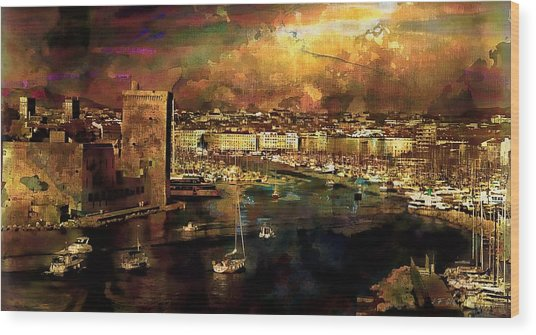 The Old Port Of Marseille Wood Print