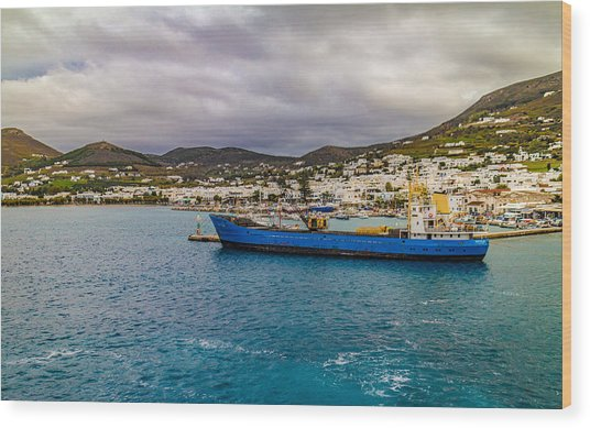 Port Of Paros Greece Wood Print