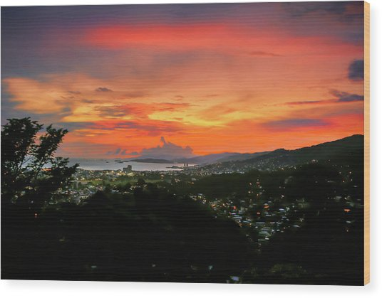 Port Of Spain Sunset Wood Print
