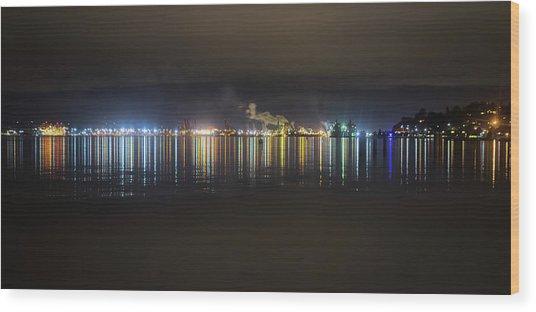 Port Of Tacoma Lights Wood Print